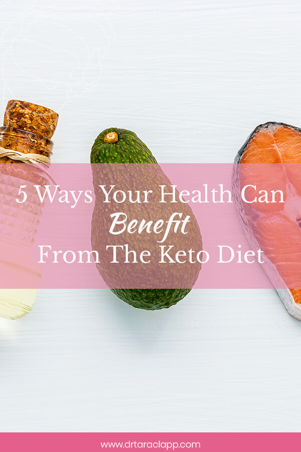 seeds, eggs, avocado, salmon and oil on table - 5 Ways Your Health Can Benefit From The Keto Diet - Article by Dr. Tara Clapp, ND