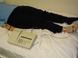 Bioempedance BIA body composition analyzer  on a patient